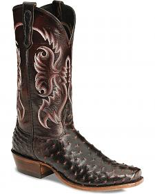 Nocona Men's Black Cherry Full Quill Ostrich Boots - Sq Toe