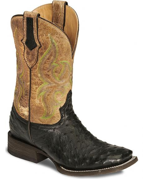 Stetson Mad Dog Ostrich Cowboy Boots - Square Toe