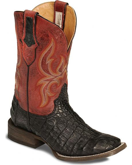 Stetson Flank Cut Caiman Cowboy Boots - Square Toe