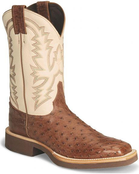 Justin Tekno Crepe Full Quill Ostrich Cowboy Boots - Square Toe