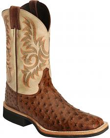 Justin AQHA Full Quill Ostrich Cowboy Boots - Square Toe