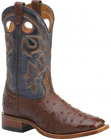 Boulet Full Quill Ostrich Cowboy Boots - Wide Square Toe