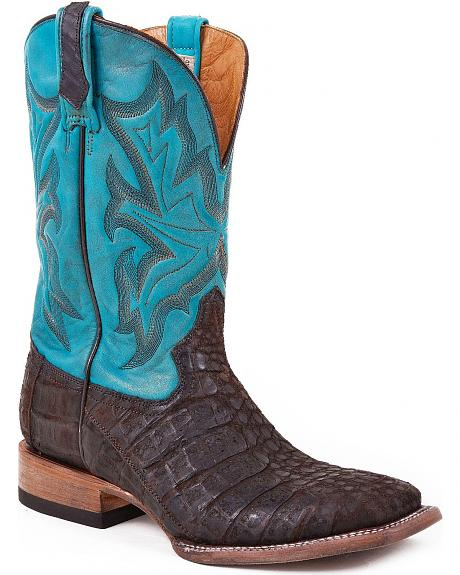Stetson Caiman Nubuck Crackled Cowboy Boots - Square Toe