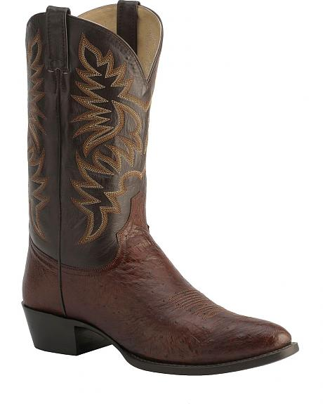 Red Ranch Smooth Ostrich Cowboy Boots - Round Toe