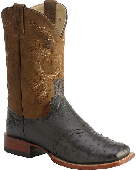 Red Ranch Full Quill Ostrich Ranger Saddle Cowboy Boots - Square Toe