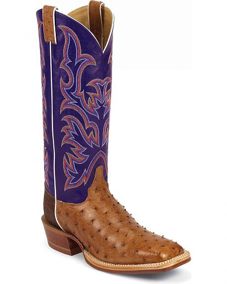 Justin Full Quill Ostrich Fancy Stitched Cowboy Boots - Square Toe