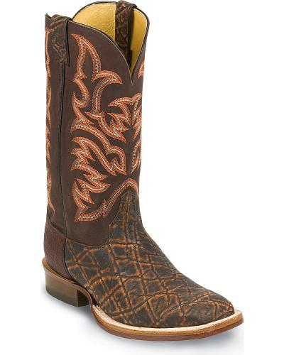 Justin AQHA Elephant Cowboy Boots Square Toe Western & Country 8556