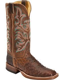 Justin AQHA Jurassic Full Quill Ostrich Cowboy Boots - Square Toe