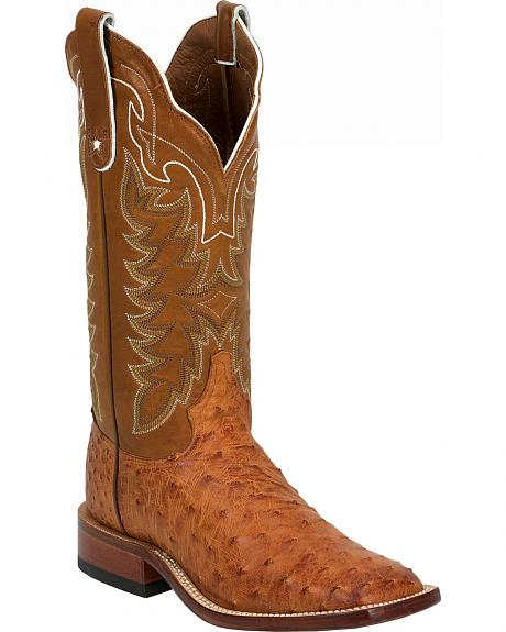Tony Lama Vintage Full Quill Ostrich Cowboy Boots - Wide Square Toe