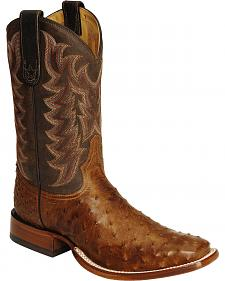 Tony Lama Full Quill Ostrich Vintage Cowboy Boots - Square Toe