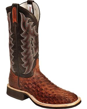 Tony Lama Vintage Full Quill Ostrich Crepe Cowboy Boots - Wide Square Toe