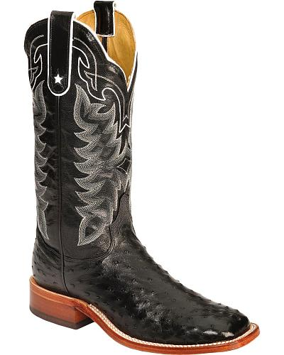 Tony Lama San Saba Full Quill Ostrich Cowboy Boots Wide Square Toe Western & Country 9090