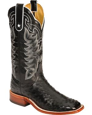 Tony Lama San Saba Full Quill Ostrich Cowboy Boots - Wide Square Toe