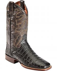 Red Ranch Caiman Belly Cowboy Boots - Square Toe
