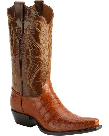 Tony Lama Signature Series Embroidered Caiman Belly Cowboy Boots - Snip Toe