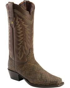 Tony Lama Black Label Vintage Elephant Cowboy Boots - Square Toe