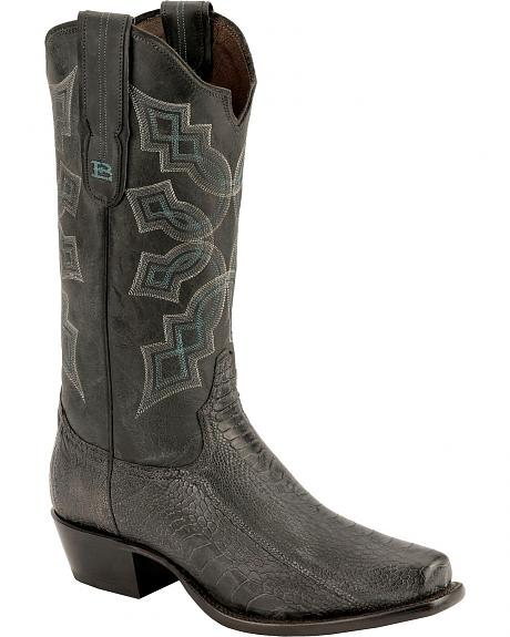 Tony Lama Black Label Ostrich Leg Cowboy Boots - Square Toe