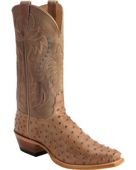 Nocona Full Quill Ostrich Western Boots - Narrow Square Toe