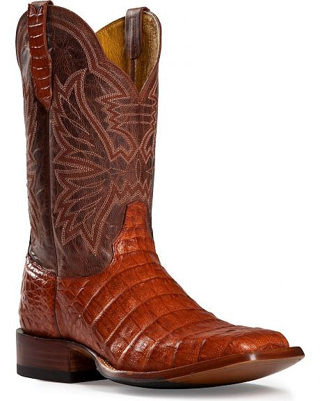 Cinch Classic Cognac Caiman Belly Mad Dog Cowboy Boots - Square Toe