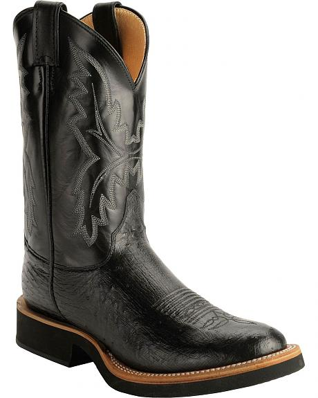 Justin Black Smooth Ostrich Tek Crepe Cowboy Boots - Round Toe