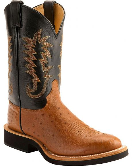 Justin Tan Smooth Ostrich Tek Crepe Cowboy Boots - Round Toe
