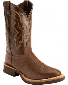 Justin Antique Brown Smooth Ostrich Tek Crepe Cowboy Boots - Round Toe
