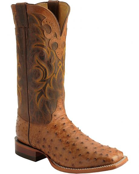 Justin AQHA Cognac Full Quill Ostrich Cowboy Boots - Square Toe