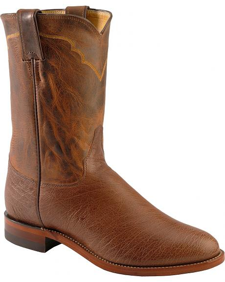 Justin Antique Vintage Smooth Quill Ostrich Cowboy Boots - Round Toe
