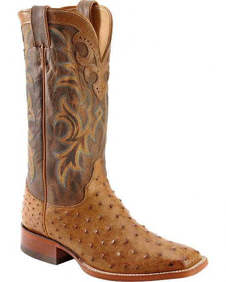 Justin AQHA Vintage Full Quill Ostrich Cowboy Boots - Square Toe