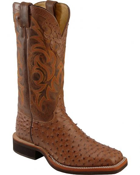 Justin Vintage Full Quill Ostrich & Goat Cowboy Boots - Square Toe