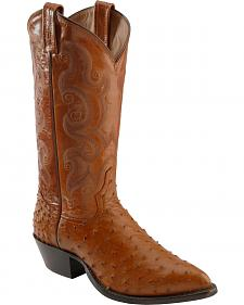 Tony Lama Full Quill Ostrich Cowboy Boots - Pointed Toe