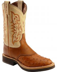 Tony Lama Renegade Full Quill Ostrich Saddle Vamp Cowboy Boots - Round Toe