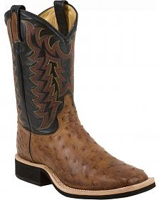 Tony Lama Thoroughbred Vintage Full Quill Ostrich Cowboy Boots - Square Toe