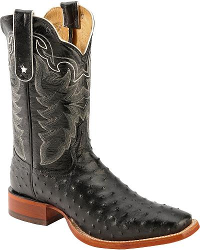 Tony Lama San Saba Black Full Quill Ostrich Cowboy Boots Square Toe Western & Country 9091