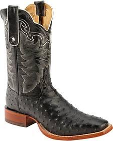 Tony Lama San Saba Black Full Quill Ostrich Cowboy Boots - Square Toe