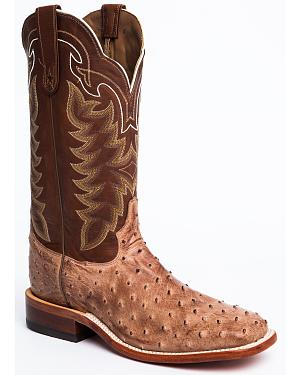 Tony Lama San Saba Vintage Full Quill Ostrich Cowboy Boots - Square Toe
