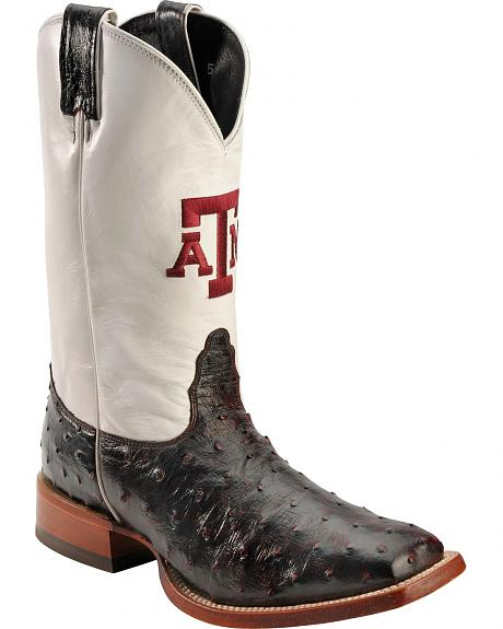 Nocona Men's Texas A&M Full Quill Ostrich College Boots - Square Toe
