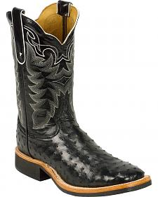 Tony Lama Black Full Quill Ostrich Cowboy Boots - Square Toe