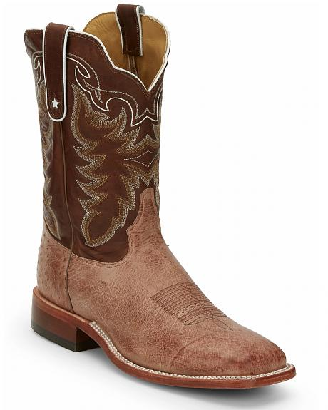 Tony Lama Thoroughbred Smooth Quill Ostrich Cowboy Boots - Square Toe