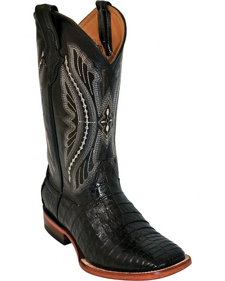 Ferrini Black Caiman Belly Cowboy Boots - Wide Square Toe