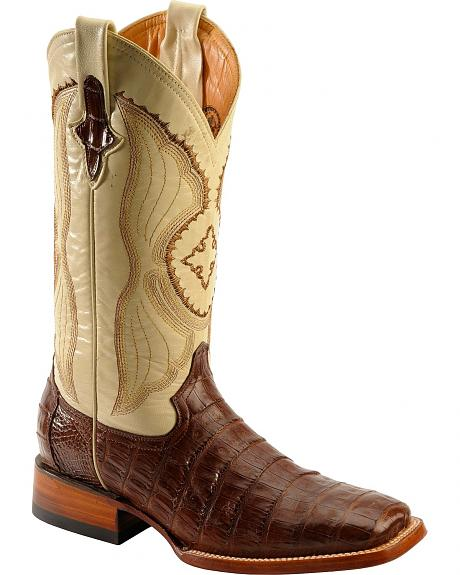 Ferrini Chocolate Caiman Belly Cowboy Boots - Wide Square Toe