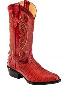 Ferrini Red Caiman Tail Cowboy Boots - Round Toe