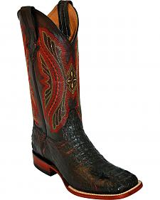 Ferrini Caiman Tail Blue Embroidered Cowboy Boots - Square Toe