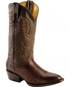 Ferrini Chocolate Teju Lizard Cowboy Boots - Round Toe