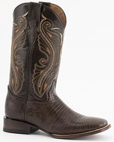 Ferrini Chocolate Teju Lizard Cowboy Boots - Wide Square Toe