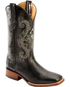 Ferrini Teju Lizard Cowboy Boots - Wide Square Toe