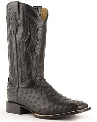 Ferrini Full Quill Ostrich Embroidered Cowboy Boots - Wide Square Toe at Sheplers