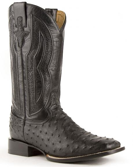 Ferrini Full Quill Ostrich Turquoise Embroidered Cowboy Boots - Wide Square Toe