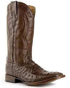 Ferrini Full Quill Ostrich Cowboy Boots - Wide Square Toe