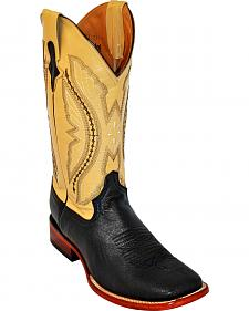 Ferrini Smooth Quill Electric Yellow Embroidered Cowboy Boots - Wide Square Toe